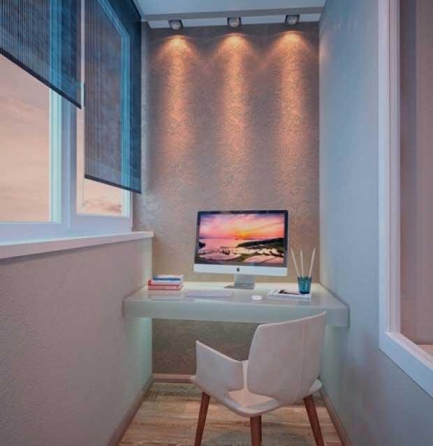 мини офис на балконе